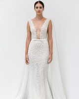 lee petra grebenau fall 2019 belted deep v-neck sheath with pearls and floral applique