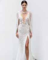 lee petra grebenau fall 2019 glittery belted deep v-neck sheath with slit and cape