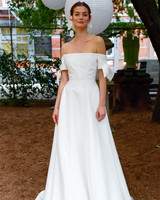 lela rose wedding dress bridal market fall 2018 off the shoulder long