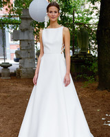 lela rose wedding dress bridal market fall 2018 high neck bateau sleeveless