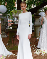lela rose wedding dress bridal market fall 2018 high neck bateau long sleeve