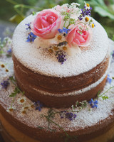 Naked Cake with Powdered Sugar and Fresh Flowers