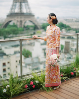 long sleeved wedding tea ceremony dress