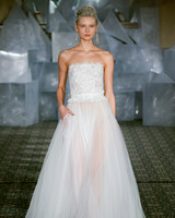 mira zwillinger wedding dress spring 2019 strapless bodice feather detail