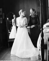 A Mother and Daughter Laughing Before a Wedding