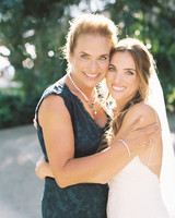 A Bride and Her Mom Embracing on Her Wedding Day