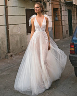 Muse by Berta V-Neck Sheer Ball Gown Wedding Dress Fall 2018