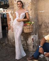 Muse by Berta Sheer Spaghetti Strap Sheath Wedding Dress Fall 2018