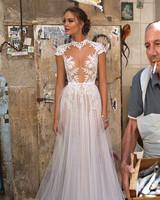 Muse by Berta Cap Sleeve Sheath Wedding Dress Fall 2018
