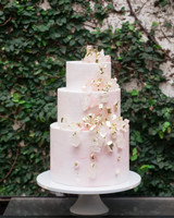 3-tier cake with gold and pink sugar crystals