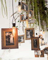 hanging frames and light bulbs wedding decor