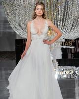 pronovias wedding dress fall 2018 v-neck a-line sleeveless