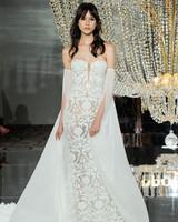 pronovias wedding dress fall 2018 strapless lace sleeves cape