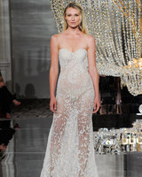 pronovias wedding dress fall 2018 illusion strapless embellished sheer