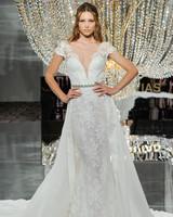 pronovias wedding dress fall 2018 cap sleeves lace layers