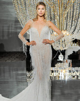 pronovias wedding dress fall 2018 illusion long sleeves fringe trumpet
