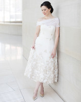 wedding reception dresses one-shoulder tea length gown