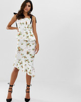 Pleated Bodice Floral Midi Pencil Dress
