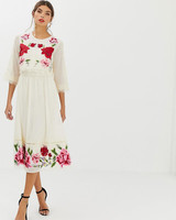 floral embroidered double layer midi dress