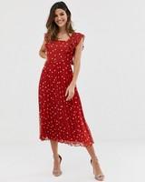 red Pleated Skater Midi Dress