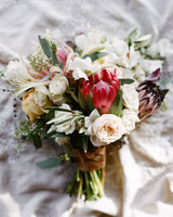 lush protea wedding bouquet