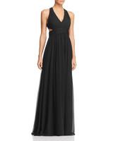 black v-neck silk dress