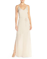 v-neck silk bridesmaid gown