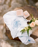 something blue vintage embroidered hankie with blue thread
