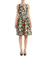 Oscar de la Renta floral silk mikado fit-and-flare dress