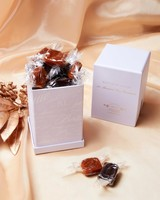 chocolate caramels in box