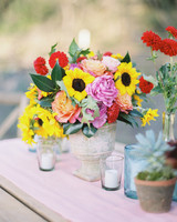 Yellow sunflower summer wedding centerpiece