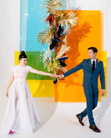 tashina huy colorful wedding couple