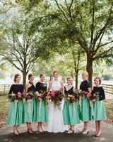 two piece bridesmaids angela zion green