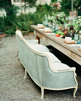 vintage couch at table