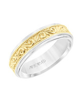 gold detail vine wedding band