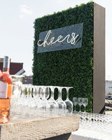 wedding bar sign cheers green wine glasses
