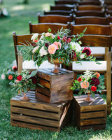 floral decorations sitting on crates