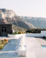 angie prayogo greece wedding reception table and view