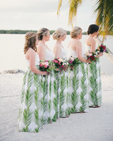 bridesmaids wearing printed skirts
