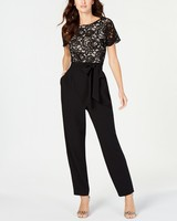 black Lace-Top Jumpsuit