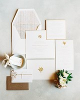 classic wedding invitation with palm trees