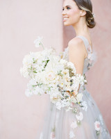 light blue wedding dress with floral appliques