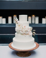 Five-Tiered White Wedding Cake with Sugar Flower Garland