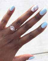 engagement ring selfie blue and marble accent manicure