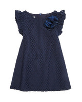 dark blue lace flower girl dress