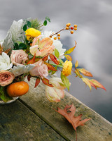 Romantic Fall Centerpiece with Foliage