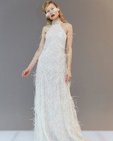 halter high neck sleeveless feather sheath wedding dress Francesca Miranda Spring 2020
