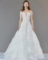 off-the-shoulder plunging v-neck lace floral applique a-line wedding dress Francesca Miranda Spring 2020