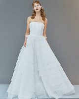 strapless straight across tiered tulle exposed boning a-line wedding dress Francesca Miranda Spring 2020