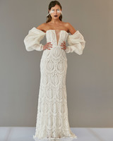 off the shoulder long puffed sleeves illusion deep v-neck embroidered lace sheath wedding dress Francesca Miranda Spring 2020